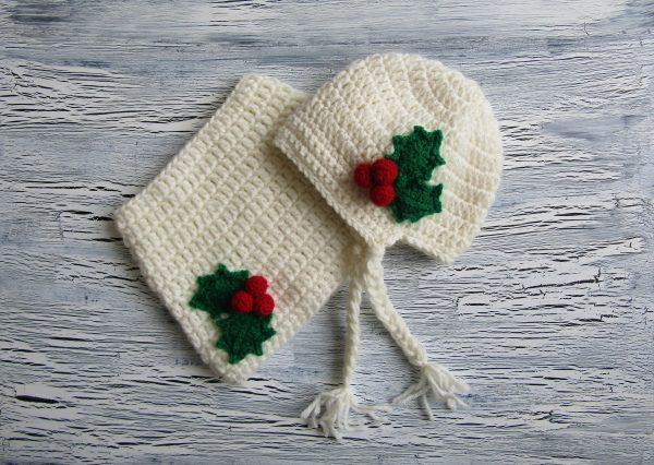 Детски шал и шапка с коледен мотив