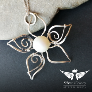 "Колие ""Nimphea"", сребро, перла Swarovski, ръчна изработка"